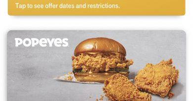 快来领取了 Popeyes 免费鸡腿堡➕2块鸡